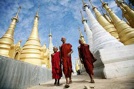 Shwe Indein Pagoda near Inle Lake in Myanmar
