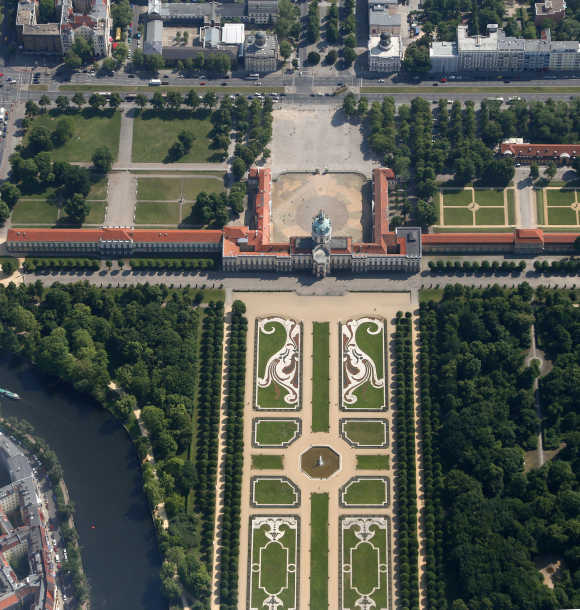 An aerial view of the Charlottenburg Palace is seen during a flight over Berlin.