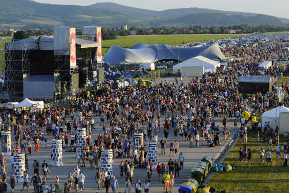 Revellers attend the Pohoda music festival at Trencin airport, 130km north of Bratislava.