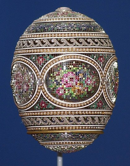Faberge Mosaic Egg, one of four Faberge eggs among the Royal Collection of Britain's Queen Elizabeth ll.