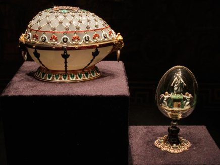 The Renaissance Egg (L) and the Resurrection Egg are displayed at an exhibition.