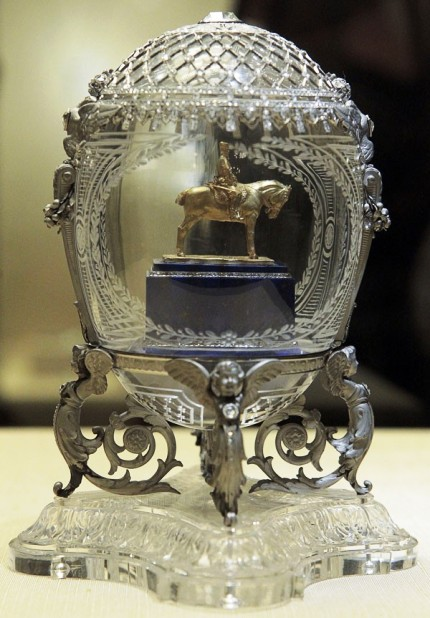 The 'Alexander III Monument' egg by Faberge sits on display in the Kremlin.
