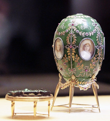 he 'Alexander Palace' Egg by Faberge sits on display in the Kremlin.