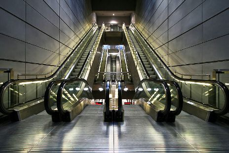 Escalators at Amagerbro Metro Station in Copenhagen, Denmark.