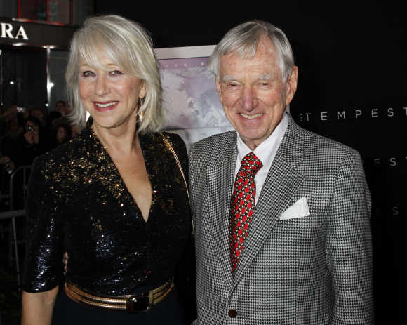 Actress Helen Mirren poses with David Murdock.