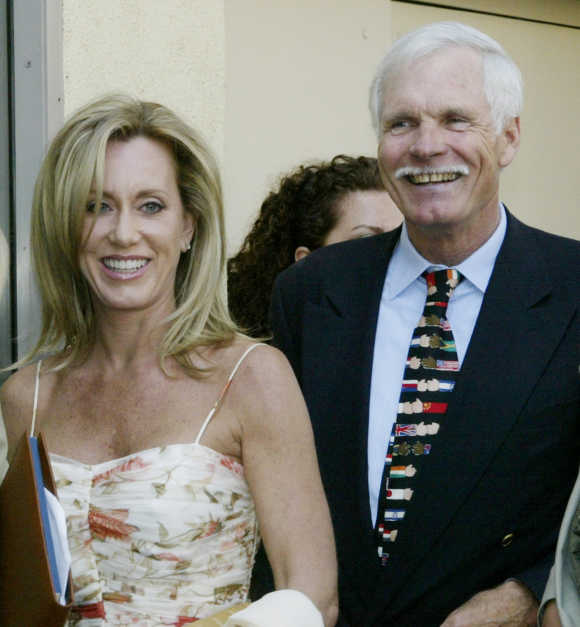 Ted Turner with his companion Rebekah Stewart.