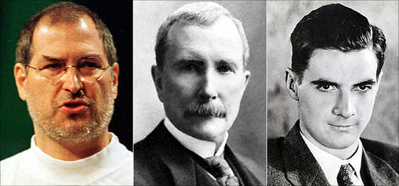 Steve Jobs, left, John D Rockefeller, centre, and Howard Hughes, right.
