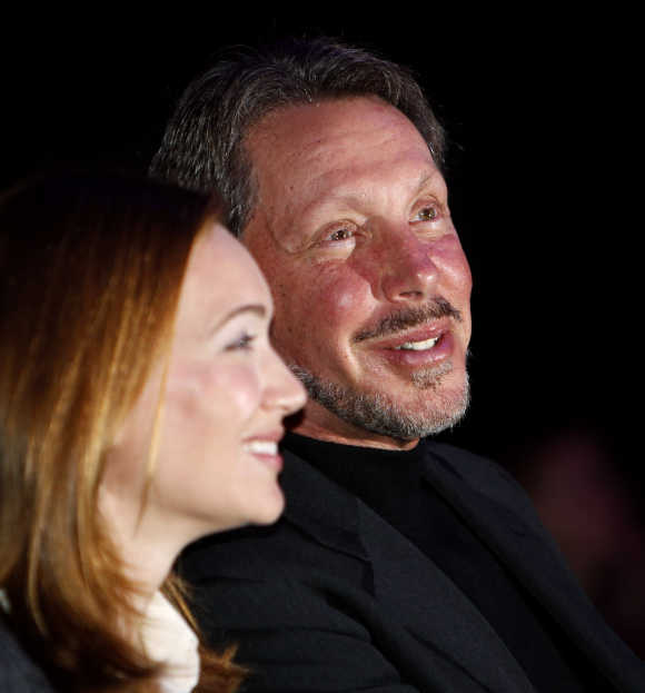 Larry Ellison with his wife, Melanie.