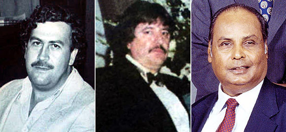 Pablo Escobar, left. Amado Carrillo Fuentes, centre, and Dhirubhai Ambani, right.