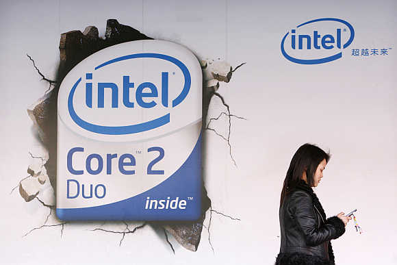 An Intel Core Duo advertisement outside a computer shop in Beijing.