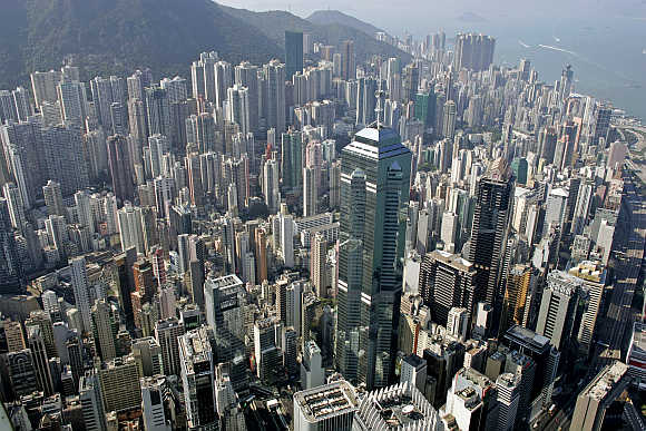 A picture taken from the roof of Two International Finance Centre, Hong Kong's tallest building, shows the city's Central district.
