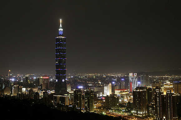 A view of the Taipei skyline shows the Taipei 101 building shortly before the city participated in Earth Hour.