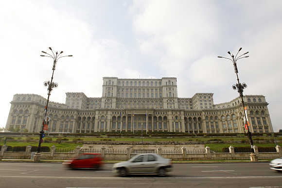View of the Casa Poporului or House of the People, now the Parliament Palace, in downtown Bucharest.