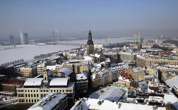 View of Riga's Old City in snow.