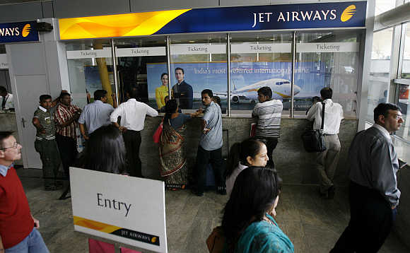 Jet Airways ticketing counters in Mumbai.