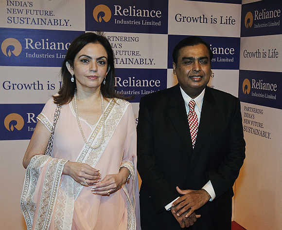 Mukesh Ambani with his wife Nita Ambani.