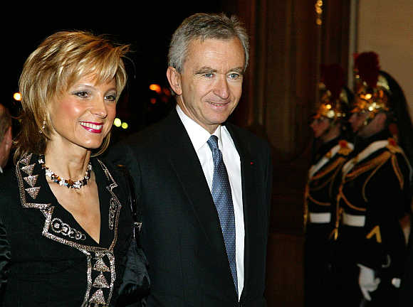Bernard Arnault with his wife Helene.