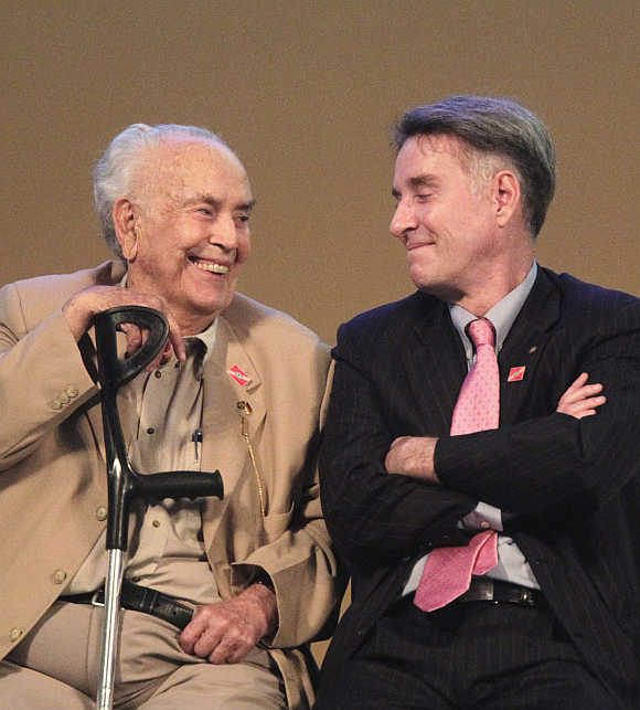 Eike Batista, right, with his father Eliezer.
