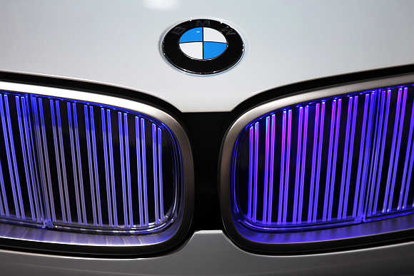 A view of the BMW logo.