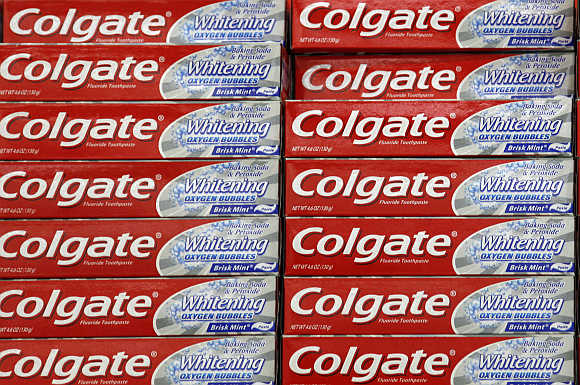 A display of Colgate toothpaste is seen on a store shelf in Westminster, Colorado, United States.