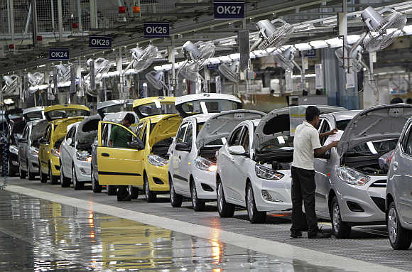 A car plant at Kancheepuram in Tamil Nadu.