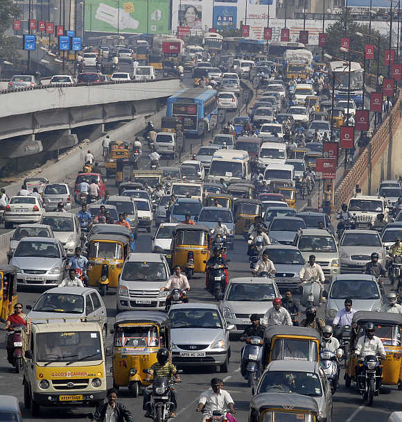 A view of Hyderabad traffic.