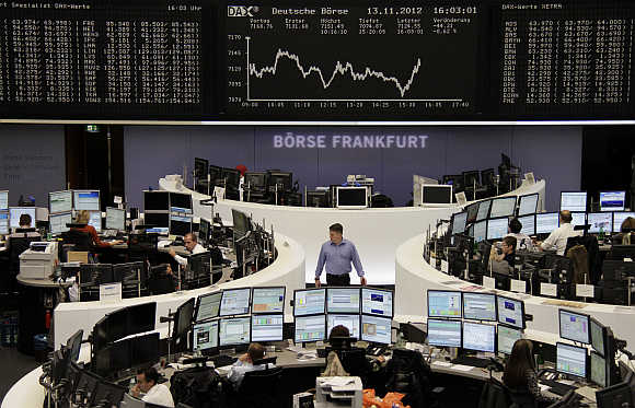 A view of the Frankfurt stock exchange.
