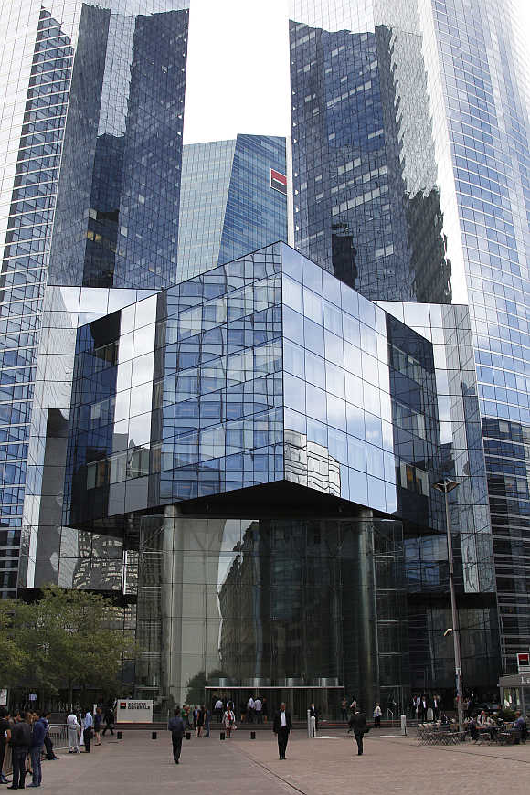 Headquarters of French bank Societe Generale at La Defense, west of Paris.