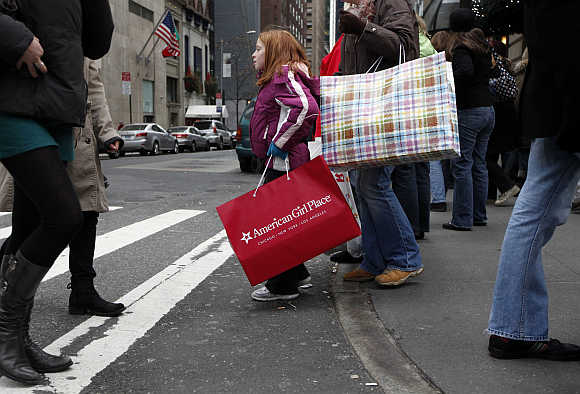 Shoppers at Fifth Avenue in New York.