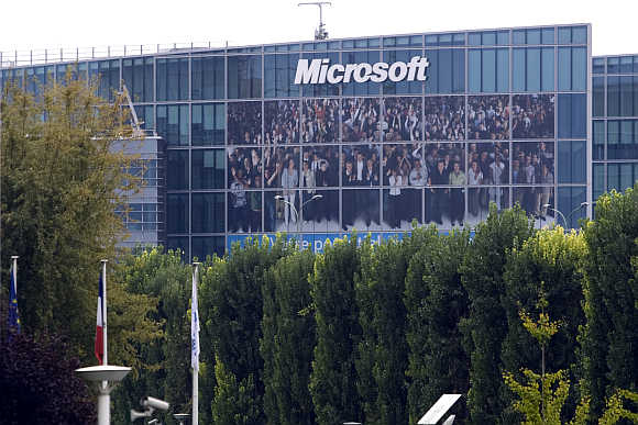 A view of Microsoft's headquarters in Issy-les-Moulineaux near Paris.