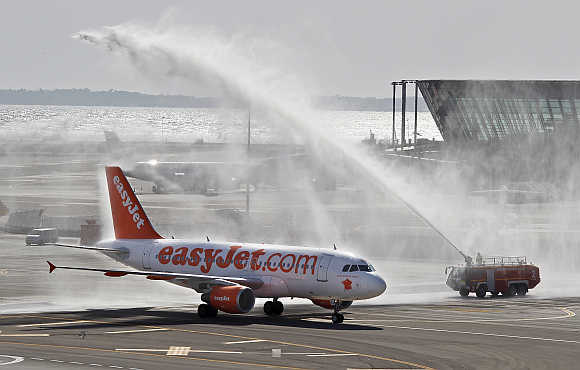 An easyjet plane in Nice, France.