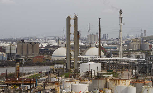 An oil refinery and storage facility south of downtown Houston.