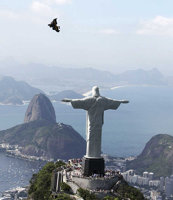 Statue of Christ the Redeemer on Corcovado Mountain in Rio de Janiero.