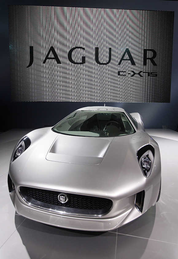 Jaguar C-X75 concept car in Paris.