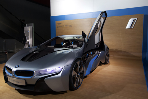 The BMW i8 Concept Spyder hybrid gas/electric car