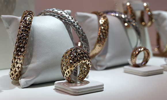 Jewellery is displayed at the Valenza international jewels exposition in Valenza, northern Italy.