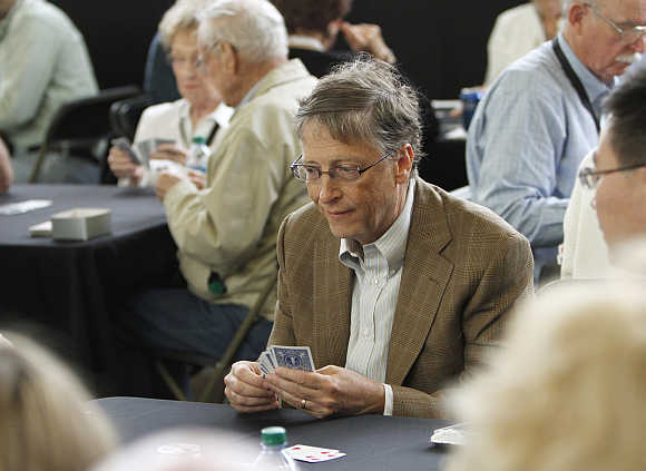 Bill Gates plays bridge during the Berkshire Hathaway annual meeting weekend in Omaha.
