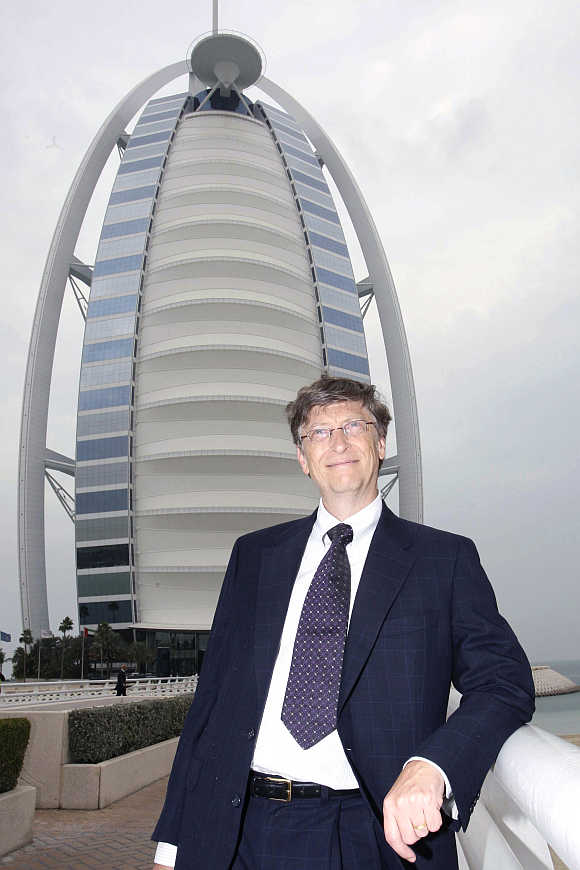Bill Gates in front of Burj Al Arab in Dubai.