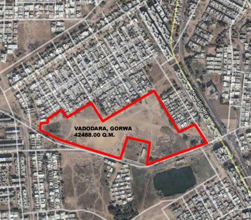 A satellite image of the 'land plan' by Gujarat Housing Board