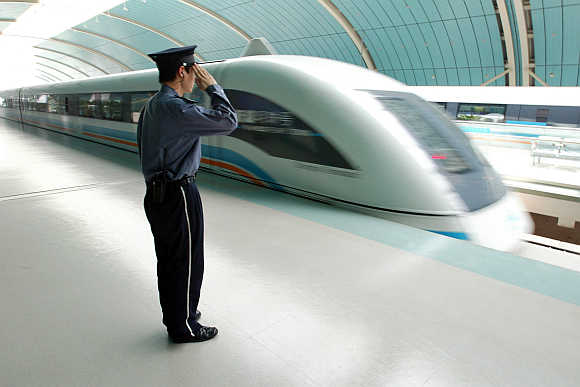 Magnetic levitation train.