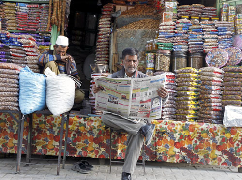 A Kashmiri shop owner in Srinagar.