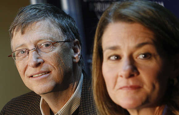 Bill Gates with wife Melinda at Davos, Switzerland.