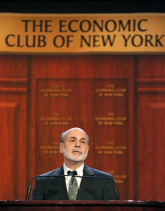 Ben Bernanke at the Economic Club of New York in New York.