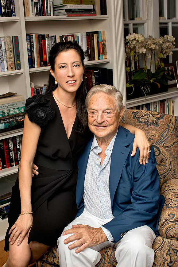 George Soros and girlfriend Tamiko Bolton in Southampton, New York.