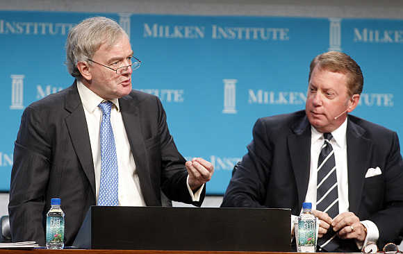 Willem Buiter, left, with Terry Duffy, Executive Chairman, CME Group, in Beverly Hills, California.
