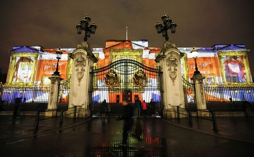 The Buckingham Palace was all lit up for the 2012 Olympics.