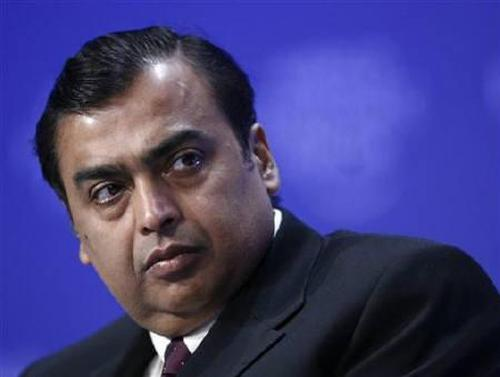 Mukesh Ambani attends a session at the World Economic Forum