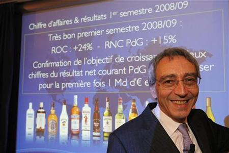Pierre Pringuet, managing director of Pernod Ricard, poses before the company's 2008 annual results presentation near Paris.