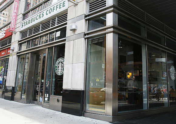A view of the Starbucks outlet on 47th and 8th Avenue in New York.