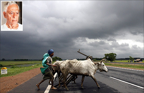 A farmer and his bullocks cross a highway against the backdrop of monsoon clouds in Singur. (Inset) Rabindranath Bhattacharya.
